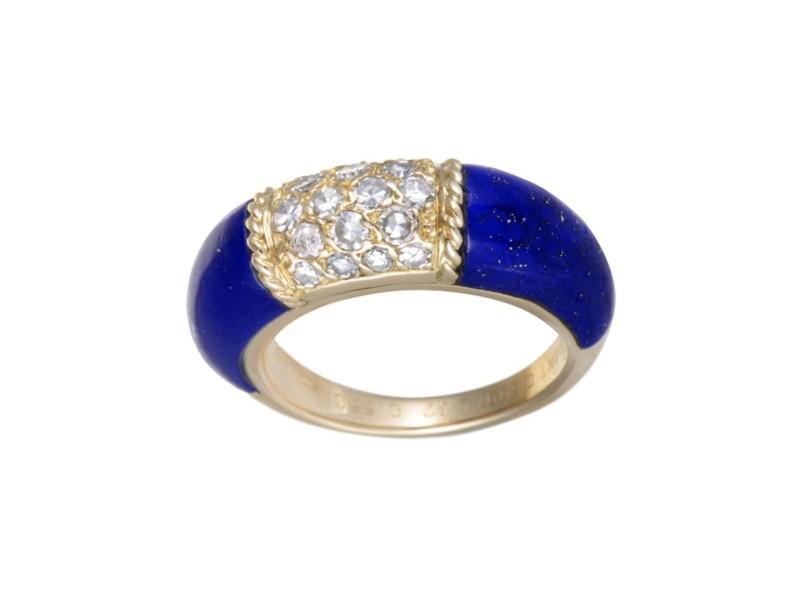 Van Cleef & Arpels 18K Yellow Gold 0.55ct Diamonds and Lapis Lazuli Bombe Ring Size 6