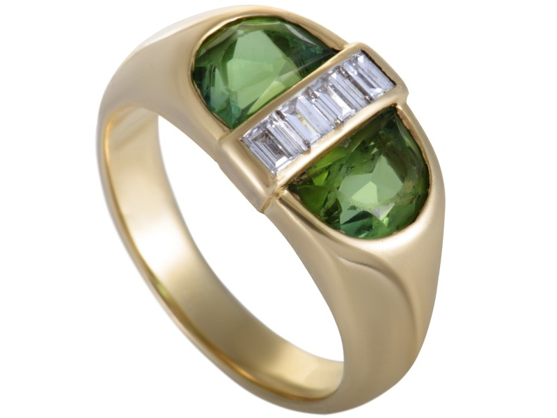 Tiffany & Co. 18K Yellow Gold 0.35ct Diamond & Peridot Oval Ring Size 6.25