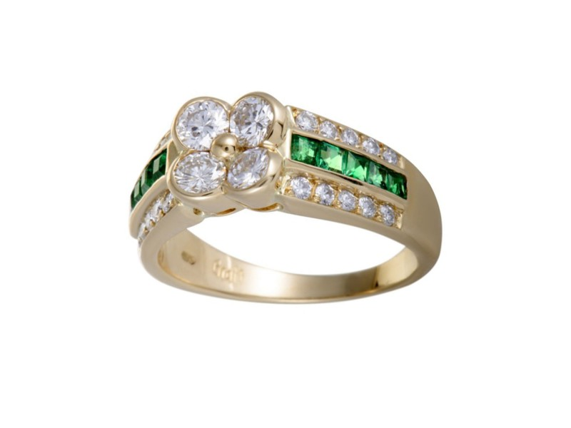 Graff 18K Yellow Gold 0.35ctw Emerald and 1.11ctw Diamond Flower Ring Size 7.25