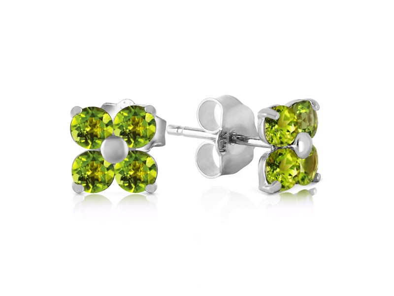 1.15 CTW 14K Solid White Gold Glimmering Smile Peridot Earrings