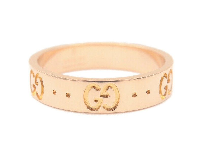 Authentic GUCCI ICON Ring K18 PG 750 Rose Gold #11 US5.5 HK12-12.5 EU51 Used F/S