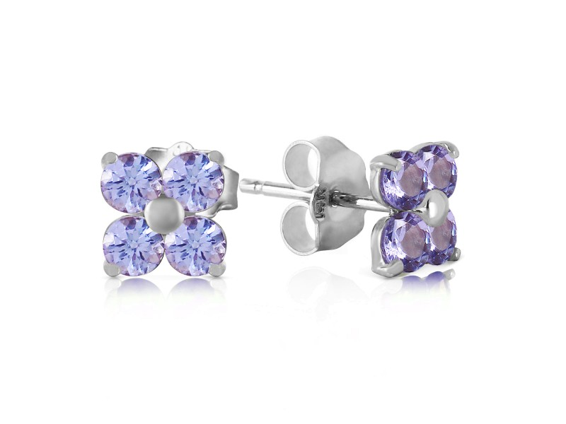 1.15 CTW 14K Solid White Gold Stud Earrings Natural Tanzanite