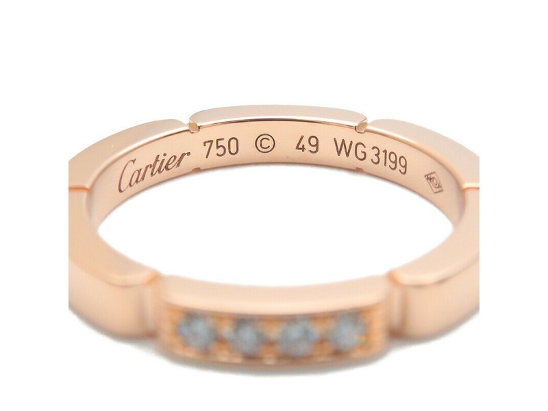 Auth Cartier maillon panthère Ring 4P Diamond Rose Gold #49 US5 EU49 Used F/S