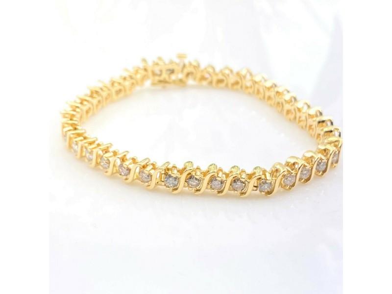 Diamond S Link Tennis Bracelet 4.00 CTW 14K Yellow Gold