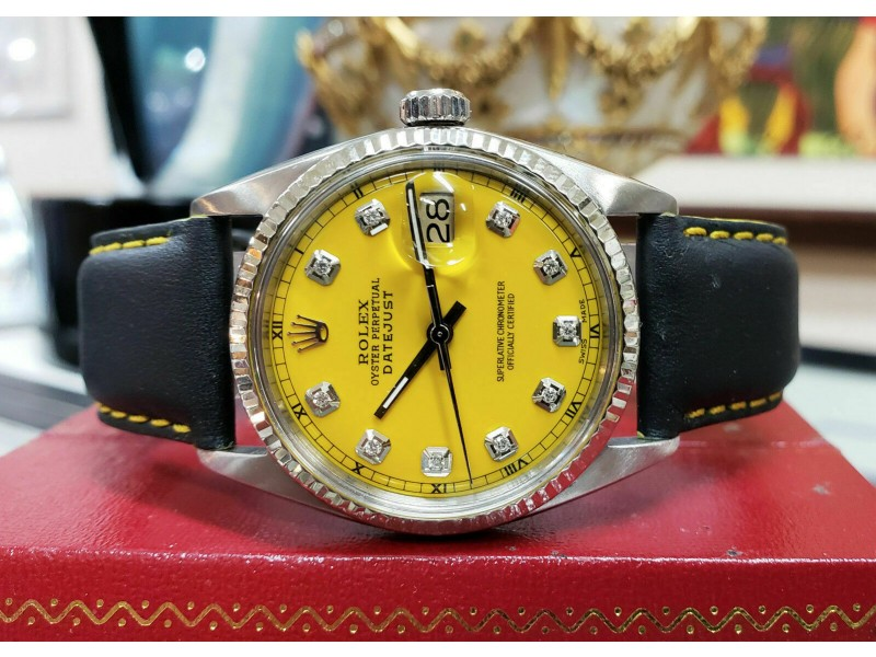 Mens Vintage ROLEX Oyster Perpetual Datejust 36mm YELLOW Diamond Dial Watch