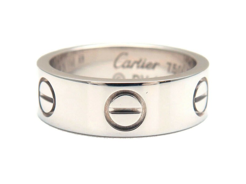 Authentic Cartier Love Ring K18 White Gold #48 US4.5-5 HK10 EU48-48.5 Used F/S