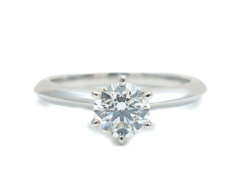 Authentic Tiffany&Co. Solitaire Diamond Ring 0.55ct Platinum US4.5 EU48 Used F/S