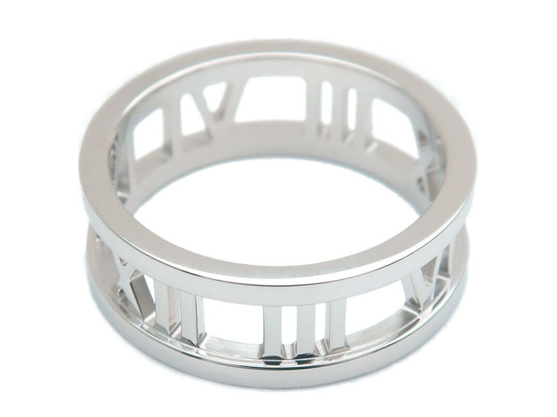 Authentic Tiffany&Co. Atlas Open Ring K18 White Gold US6.5 HK14 EU53 Used F/S