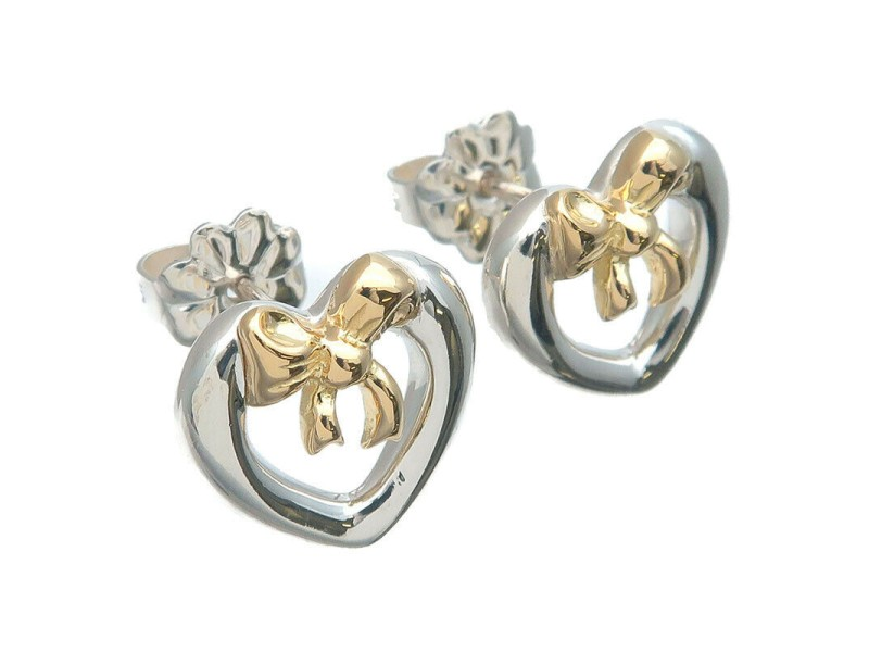 Authentic Tiffany&Co. Heart Ribbon Earrings SV925×750YG Used F/S