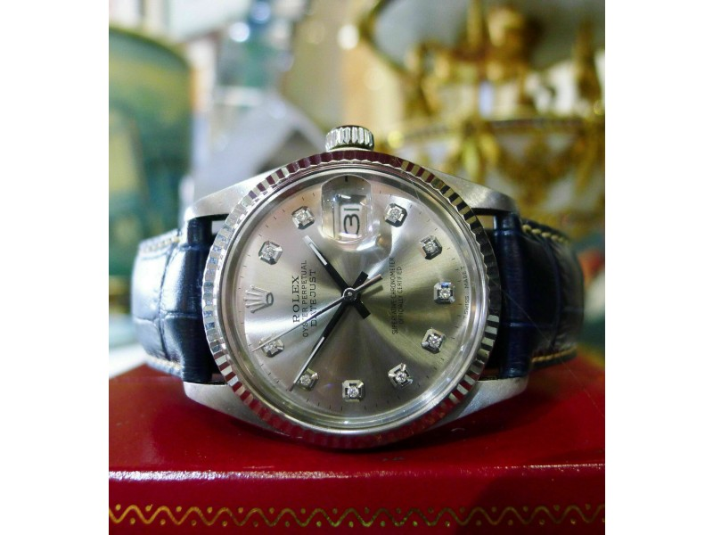 Mens Vintage ROLEX Oyster Perpetual Datejust 36mm Silver Diamond Dial Watch