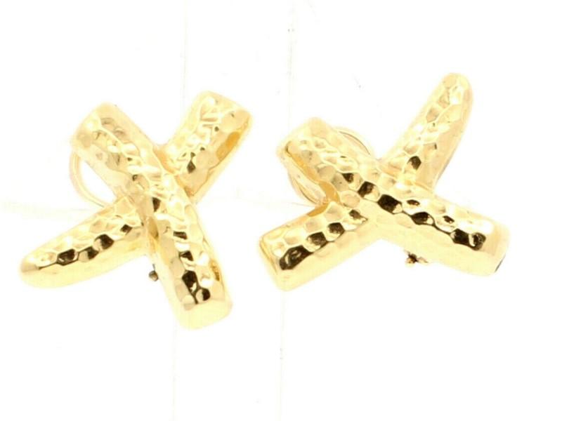 """FINE ESTATE 14K YELLOW GOLD """"X"""" EARRINGS 6.6 GRAMS"""