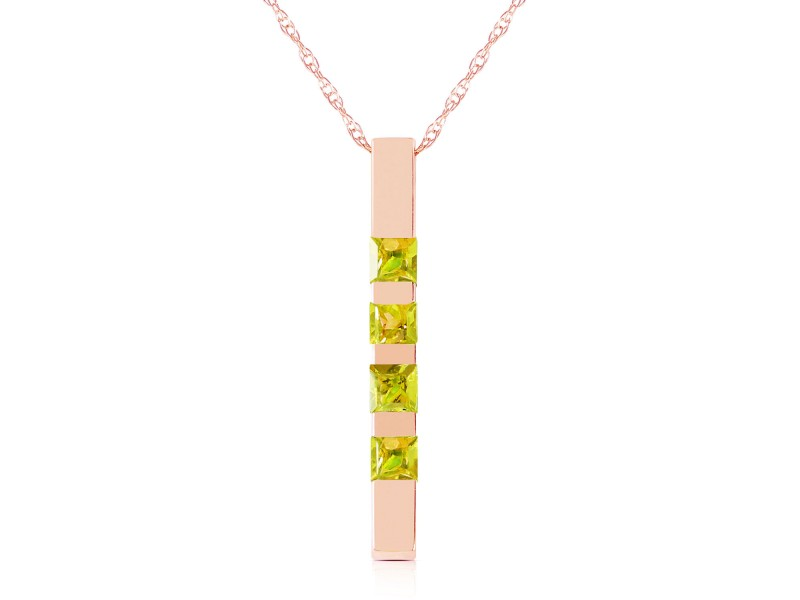 14K Solid Rose Gold Necklace Bar with Natural Peridots