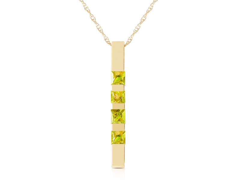 0.35 CTW 14K Solid Gold Necklace Bar Natural Peridot