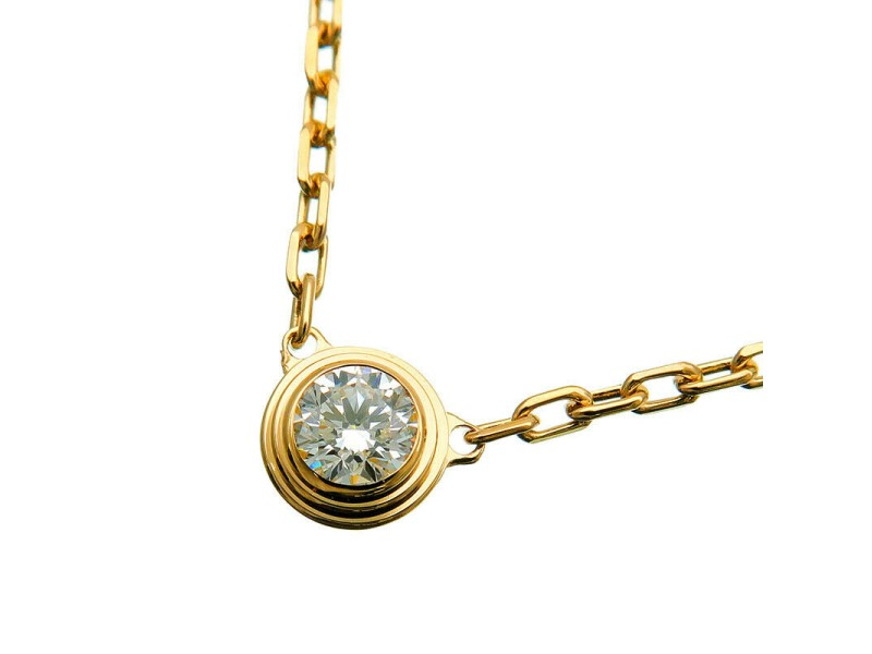Auth Cartier Diamants Légers Necklace SM 1P Diamond 0.09ct Yellow Gold Used F/S