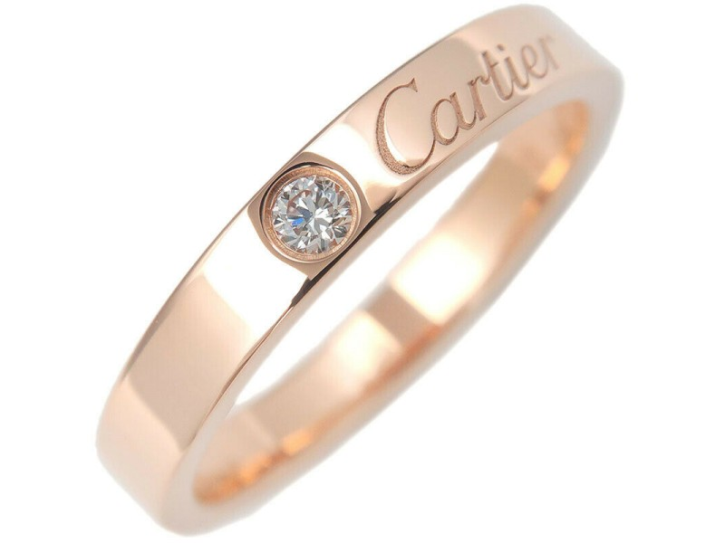 Authentic Cartier Engraved 1P Diamond Ring Rose Gold #51 US5.5-6 EU51 Used F/S