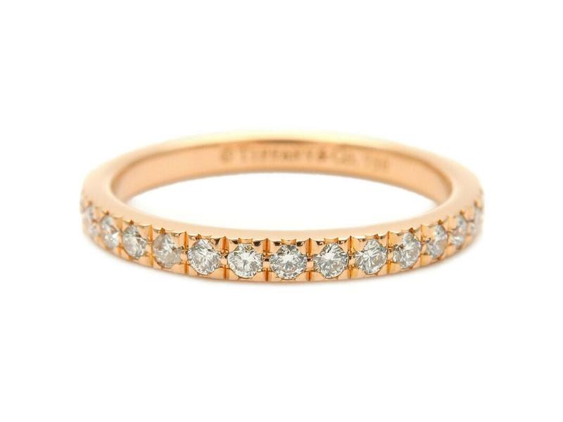Authentic Tiffany&Co. Novo Half Circle Diamond Ring Rose Gold US5 EU49 Used F/S