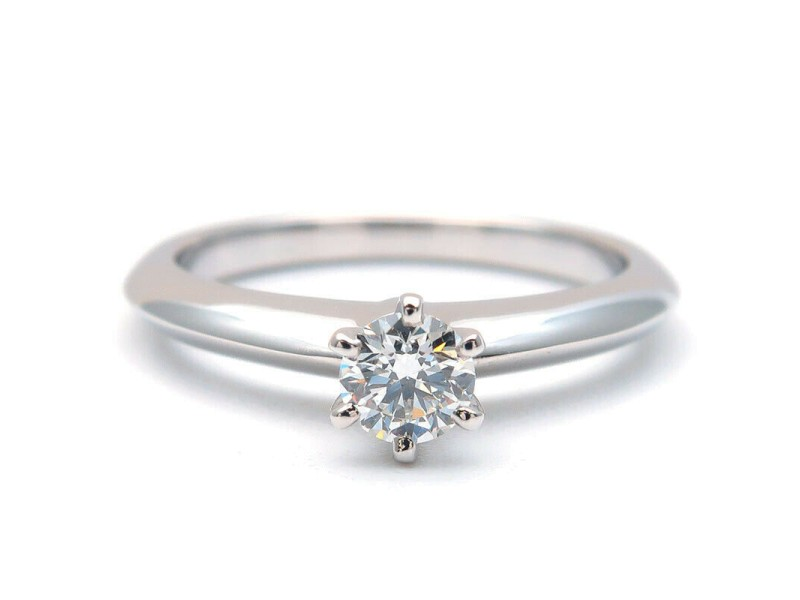 Authentic Tiffany&Co. Solitaire Diamond Ring 0.20ct Platinum US3.5-4 Used F/S