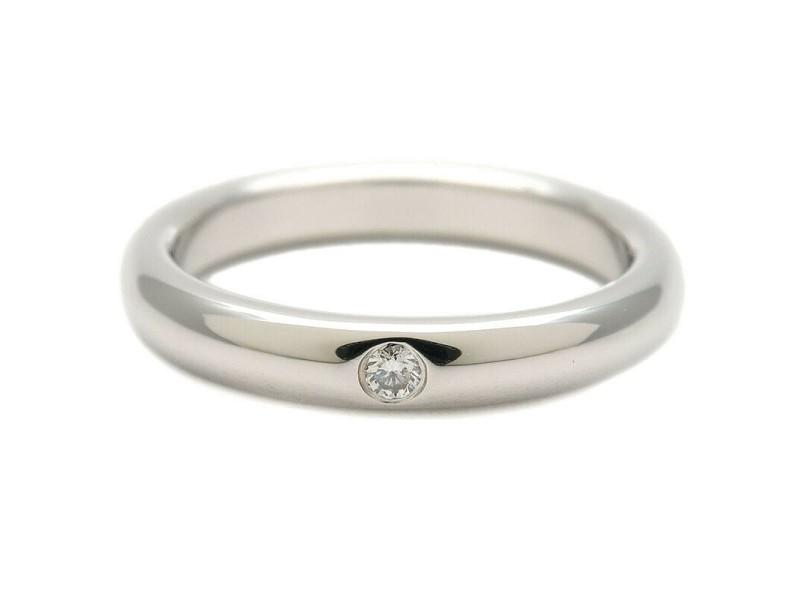 Authentic Tiffany&Co. Stacking Band Ring 1P Diamond Platinum US4 EU47 Used F/S