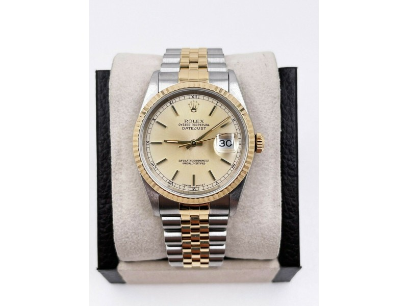 Rolex Datejust 16233 Champagne Dial 18K Yellow Gold Stainless Steel Box Papers