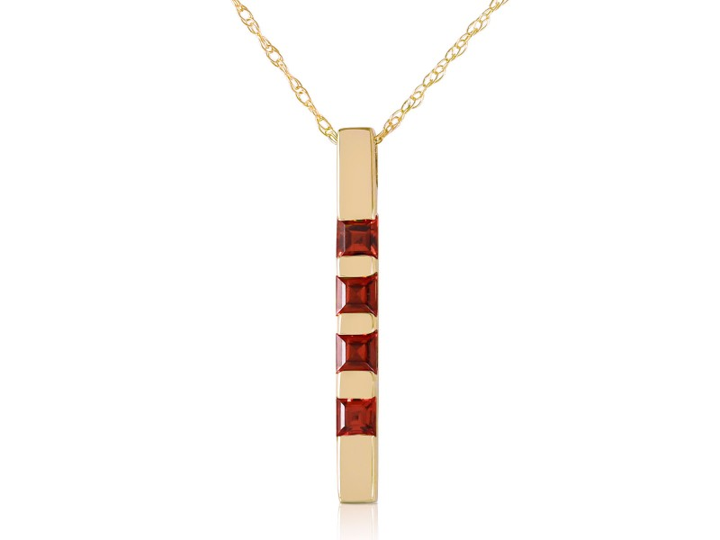 0.35 CTW 14K Solid Gold Necklace Bar Natural Garnet