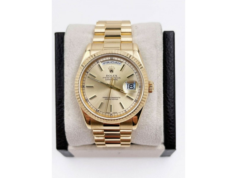 Rolex President Day Date 118238 Champagne Dial 18K Yellow Gold Mint Condition