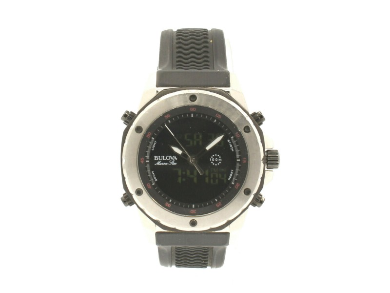 Bulova Marine Star Analog Digital Dial Black Rubber Men's Watch