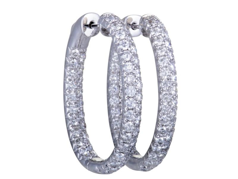 Odelia 18K White Gold with 4.00ct Diamond Hoop Earrings