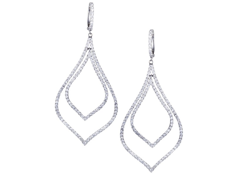 Odelia 18K White Gold with 2.88ct Diamond Pave Drop Earrings