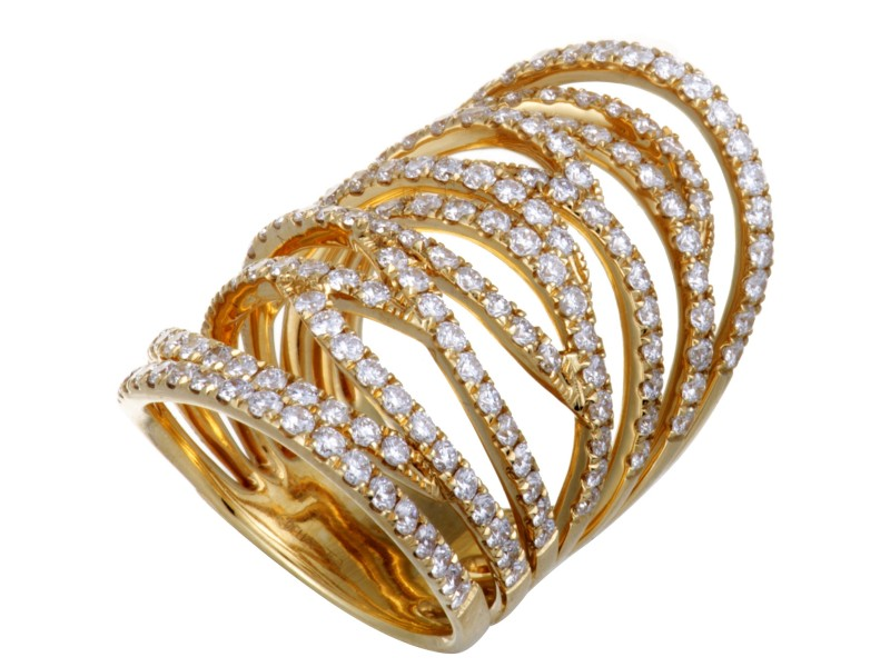 Odelia 18K Yellow Gold with 3.01ctw Diamond Long Openwork Band Ring Size 6.5
