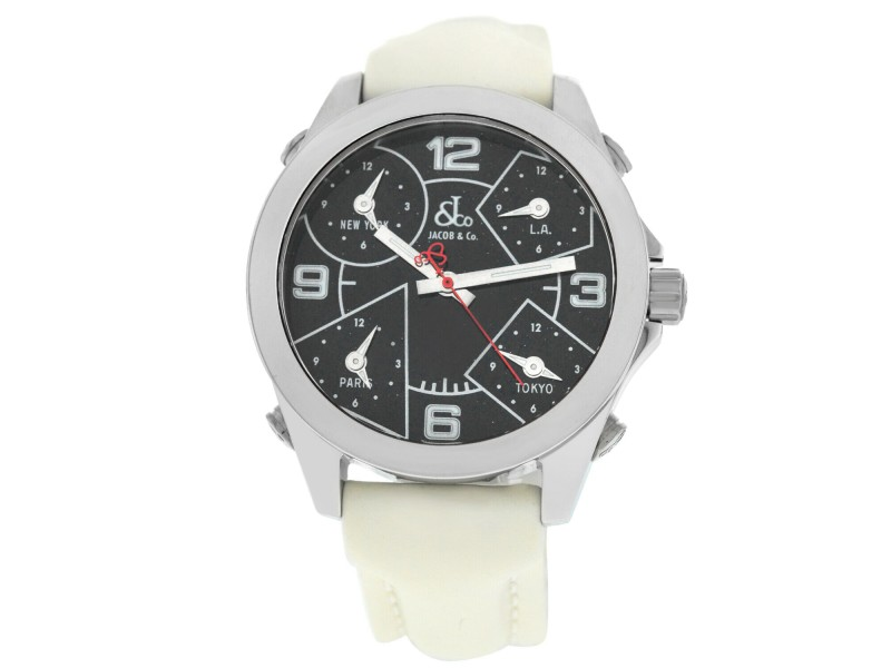 Jacob & Co. Five 5 Time Zone JCM-29  Stainless Steel 40MM Watch White Strap