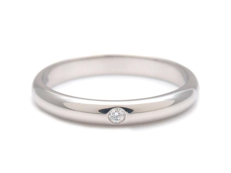 Authentic Cartier Wedding Ring 1P Diamond Platinum #49 US5 HK10.5 EU49 Used F/S