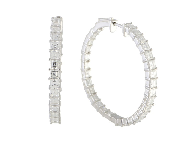 Odelia 18K White Gold with 5.40 Diamond Hoop Earrings