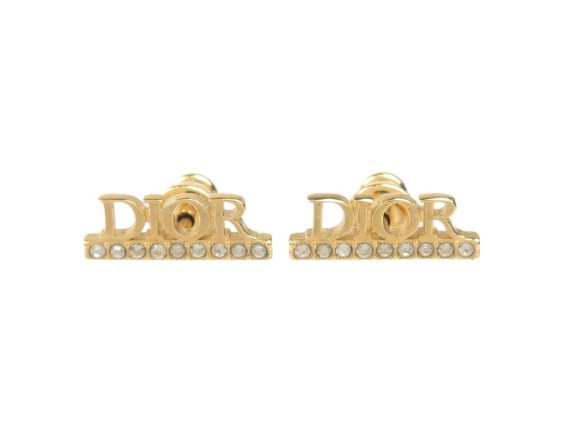 Authentic Christian Dior DIOR Logo Rhine Stone Earrings Gold Used F/S
