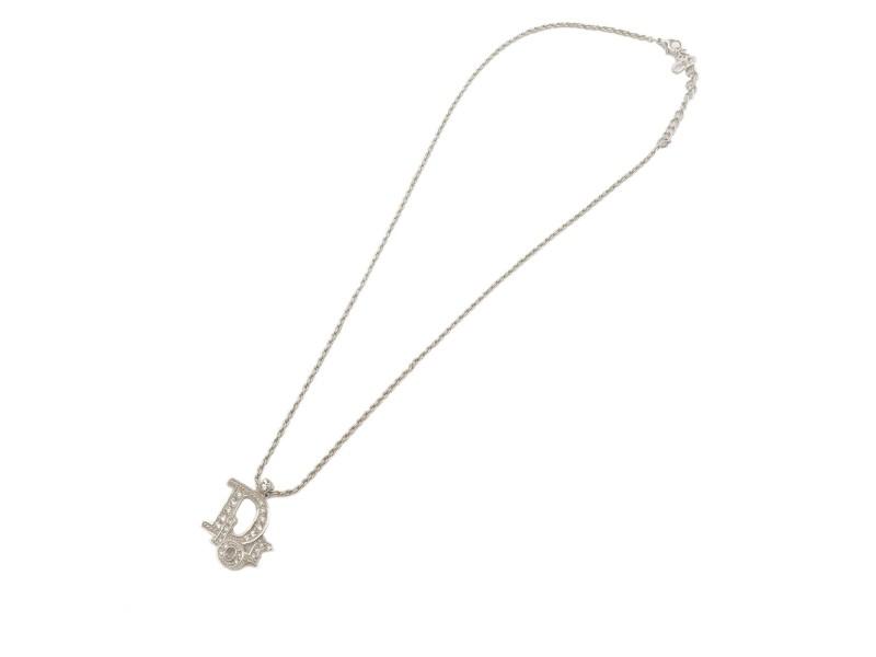 Authentic Christian Dior DIOR Logo Rhine Stone Necklace Pendant