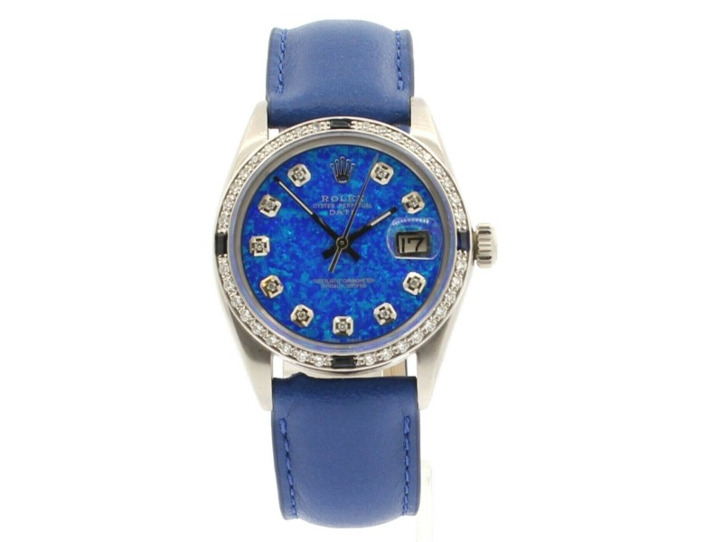 Mens Vintage ROLEX Oyster Perpetual Date 34mm BLUE OPAL Dial Diamond Stainless