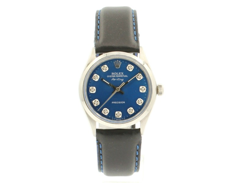 ROLEX Oyster Perpetual AIR KING Steel Shiny BLUE Dial Diamond Watch