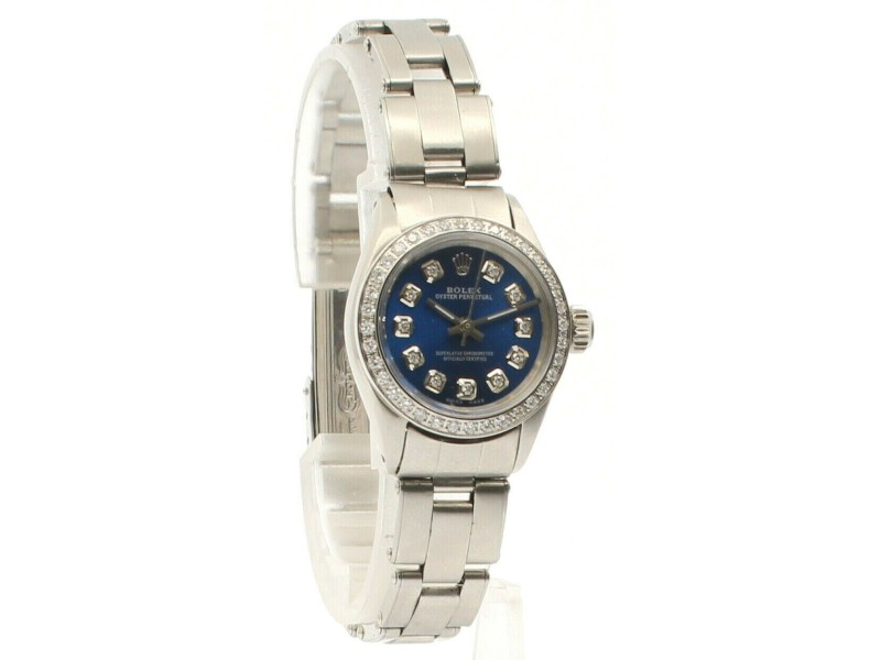 ROLEX Oyster Perpetual 25mm SHINY BLUE Dial Diamond Stainless Steel Ladies Watch