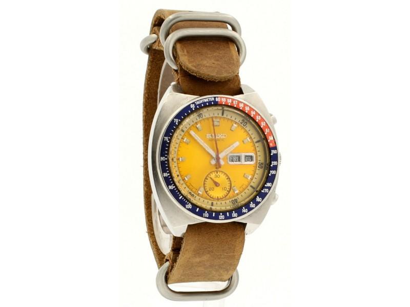 Seiko Pogue Steel Yellow Dial Automatic Chronograph Watch
