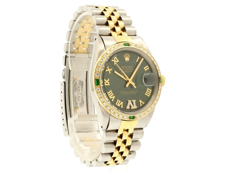 Mens ROLEX Oyster Perpetual Datejust 36mm Shiny GREEN Gold Roman Dial Watch