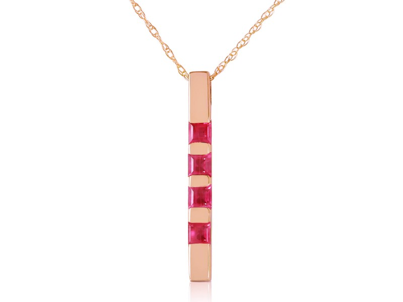 14K Solid Rose Gold Necklace Bar with  Natural Ruby