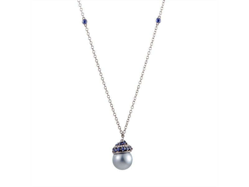 Utopia 18K White Gold with 0.26ct Diamond, 1.13ct Blue Sapphire and Cultured Tahitian Pearl Pendant Necklace