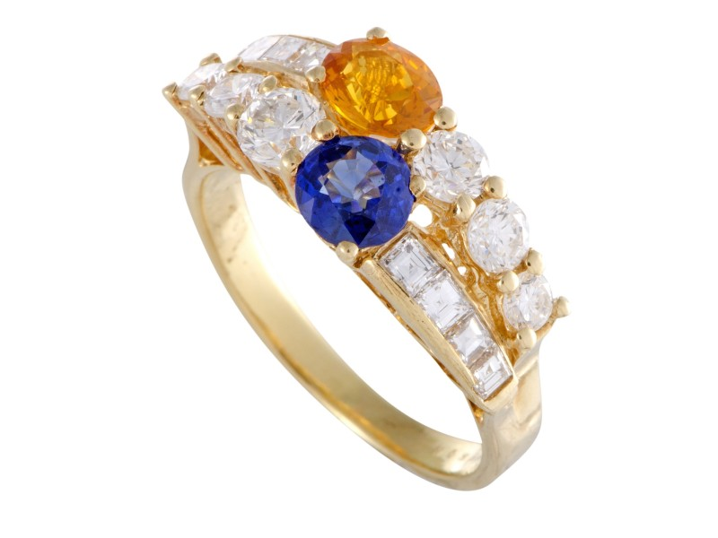 Boucheron 18K Yellow Gold 1.50ctw Yellow and Blue Sapphire & 1.20ctw Diamond Band Ring Size 6