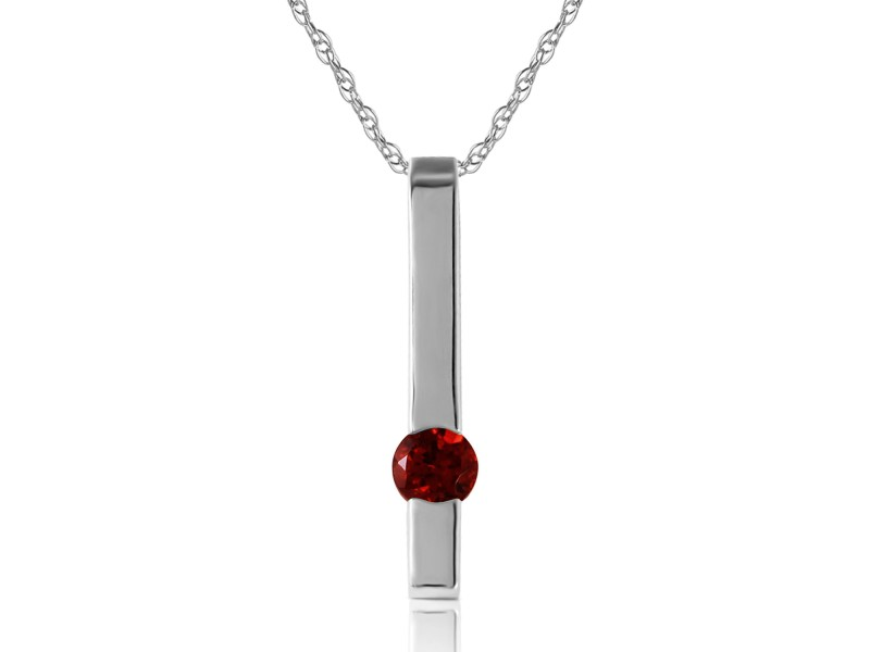 0.25 CTW 14K Solid White Gold Desire Inherently Garnet Necklace