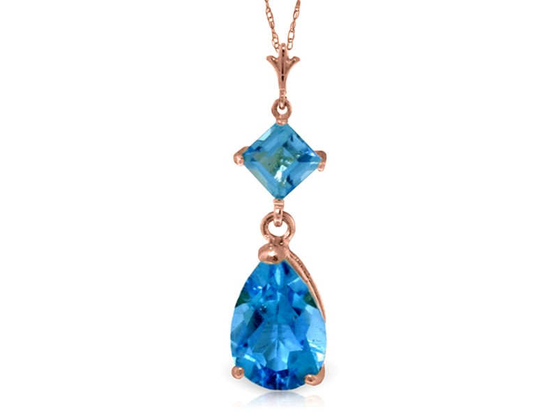 2 CTW 14K Solid Rose Gold Laughter Blue Topaz Necklace