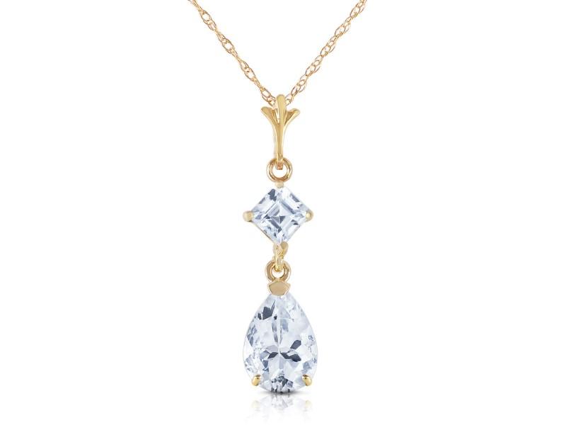 2 CTW 14K Solid Gold Plenty Of Charm Aquamarine Necklace