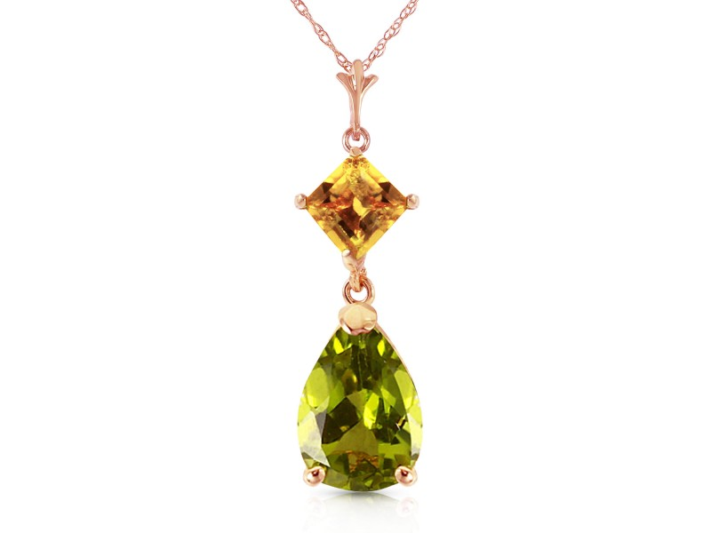 2 CTW 14K Solid Rose Gold Necklace Natural Citrine Peridot