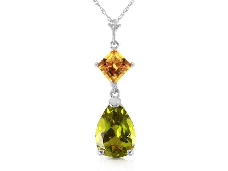 2 CTW 14K Solid White Gold Necklace Natural Citrine Peridot