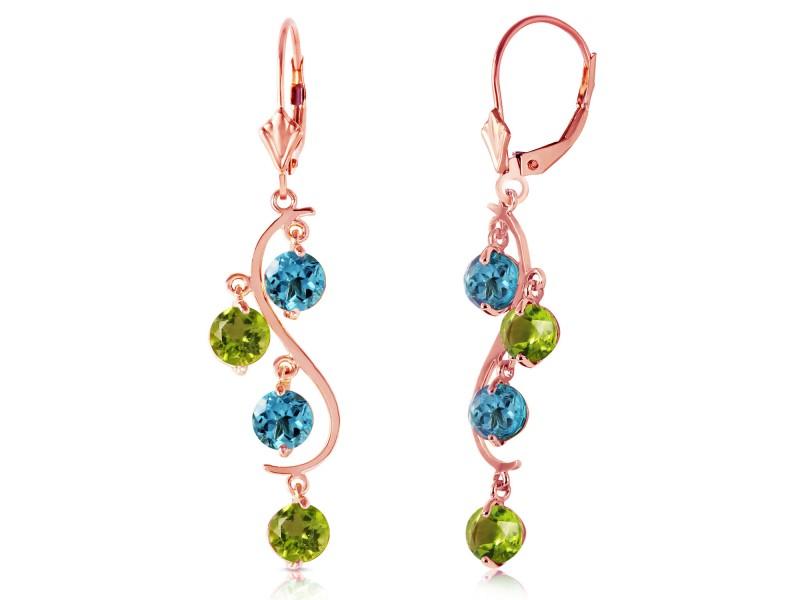 4.94 CTW 14K Solid Rose Gold Chandelier Earrings Blue Topaz Peridot