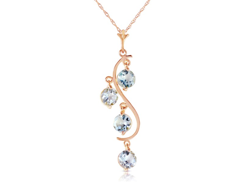 14K Solid Rose Gold Necklace with Natural Aquamarines