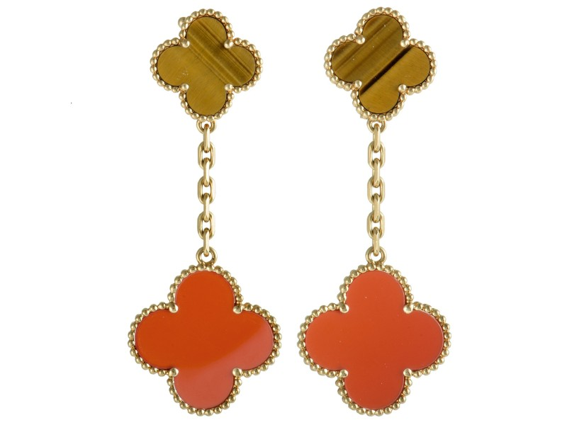Van Cleef & Arpels Magic Alhambra 18K Yellow Gold Tiger's Eye and Carnelian 2 Motif Dangling Earrings